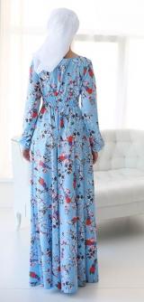 """М557 Платье """"Цветочный букет"""" голубой"""