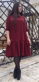 Короткое платье бордо костюмка