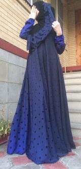 Платье абайное горох синее 40-58