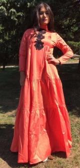 Платье хлопок с гипюром Оранж