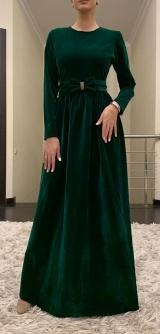 Платье бархат изумруд