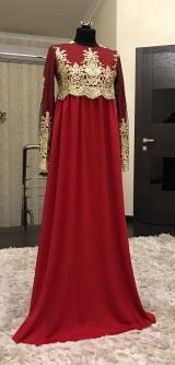 Платье Мелисса с гипюром красное