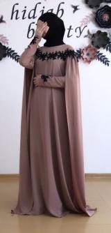 Платье-кейп грязно-розовый