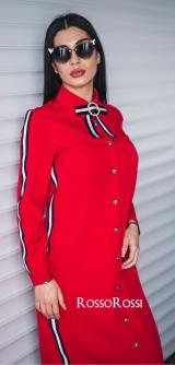 Платье с брошкой красное
