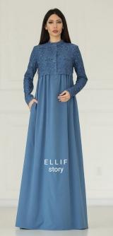 Платье гипюр с вышивкой голубой
