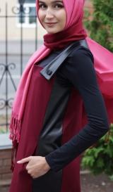 Сарафан со вставками из кожи бордо