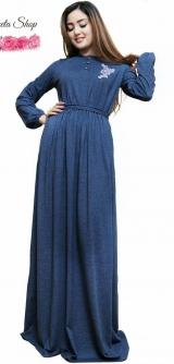 Платье трикотаж синее