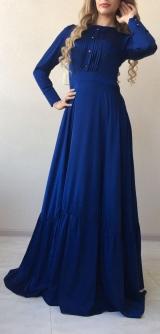 Платье шелк синее
