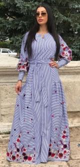 Платье полоска с вышивкой хлопок