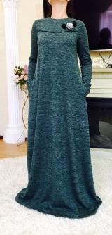 Платье с цветком осень-зима зеленое