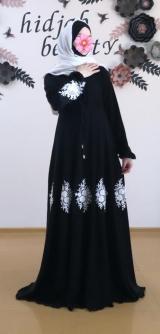 Платье абайное с кружевами черное