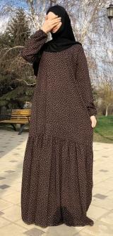 Платье штапель горох коричневое