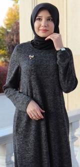 Платье базовое ангора темно-серое