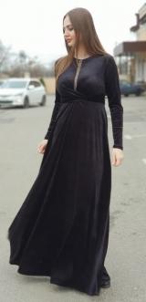 Платье велюр черное