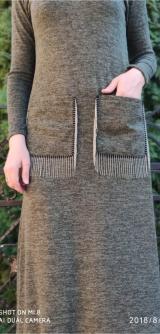 Платье ангора с карманами хаки