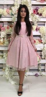 Платье розовое гипюр