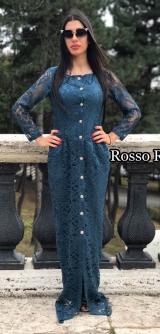 Платье из итальянского гипюра ТЕМНАЯ БИРЮЗА