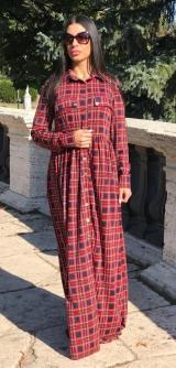 Платье-халат клетка бордо