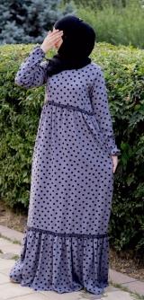 Платье штапель горошек с рюшей