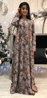 Платье теплый трикотаж с люрексом розовое
