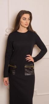 Платье рубчик черное
