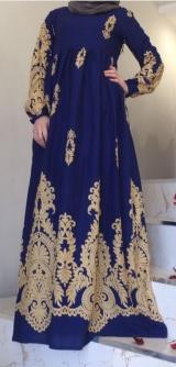 Платье из штапеля синее Узоры