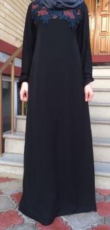 Платье абайное цветы черное 40-58