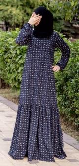 Платье с воланом синее