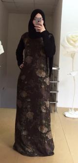 Платье дубайский шелк коричневые розы