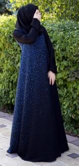 Платье абайное Распыление синее