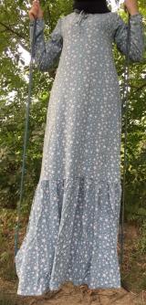 Платье штапель звездочки серое