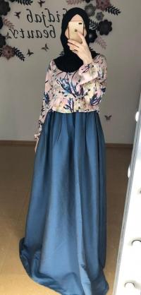 Платье шелк/джинса