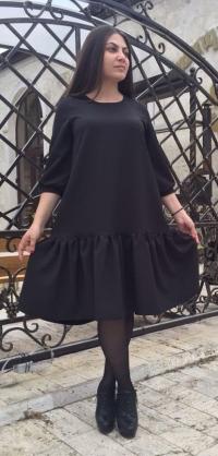 Короткое платье черное костюмка