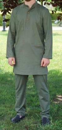 Мужской костюм зеленый лен