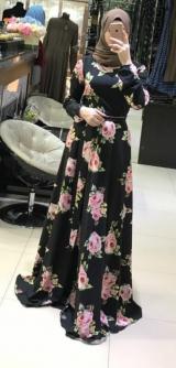 Платье креп Розы черное