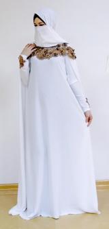 Платье-кейп белое/золото
