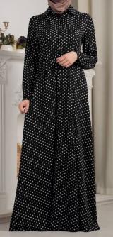 Платье-рубашка черное горошек