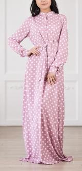 Платье-рубашка горох розовое