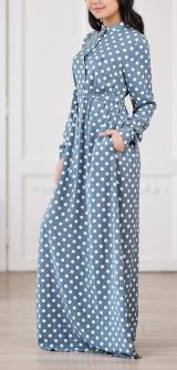 Платье-рубашка горох голубое
