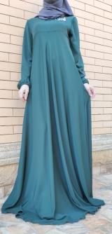 Платье абайное бирюза с апликацией.