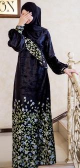 Платье с запахом велюр василек