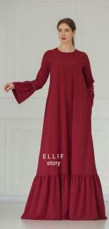 Платье с ярусом и жемчугом, марсала