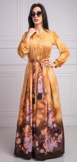 Платье золотое с цветами
