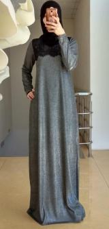 Платье с люрексом серое
