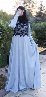 Платье с люрексом голубое