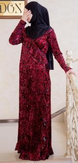 Платье с запахом велюр бордо гепард