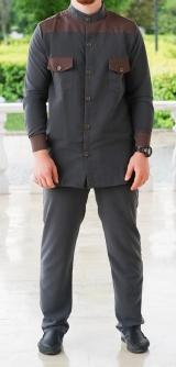 Мужской костюм-классика серый