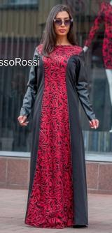 Платье эко-кожа с пайетками